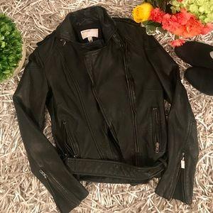 🌈HP!🌈Muubaa Black leather biker jacket US 4
